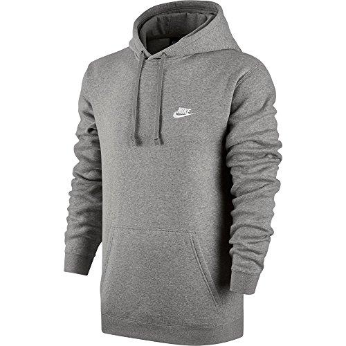 Nike Mens Sportswear Pull Over Club Hooded Sweatshirt Grey/White 804346-063 Size X-Large