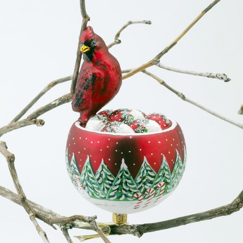 RED CARDINAL BIRDS NEST Glass Ornament Made in Poland David Strand NEW IN BOX