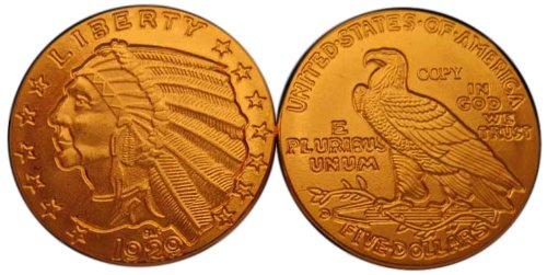 Lot of 100 - 1929 $5 Indian Head Half Eagle Gold Coins - Replica