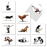 M6545TYGsl Bovine Nirvana: 10 Assorted Thank You Note Cards Featuring Fun and Flexible Cows Perfecting Various Yoga Poses, w/White Envelopes.