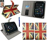 Emartbuy® Blue Stylus + Universal Range Union Jack Multi Angle Executive Folio Wallet Case Cover With Card Slots Suitable for HP Slate 7 Plus HD
