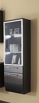 badm bel santana hochschrank glas anthrazit k che haushalt feiwvfa. Black Bedroom Furniture Sets. Home Design Ideas