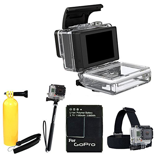 Gopro Lcd Touch Bacpac For Hero3+ And Hero3 Waterproof (Camera Sold Separately) With Head Strap Mount For Gopro + Floating Handle + Extra Battery + Monopod Kit