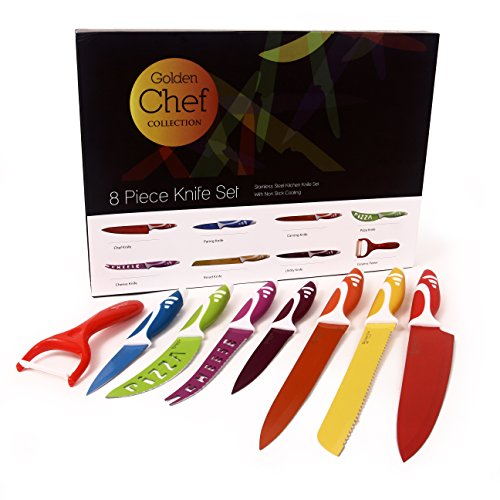 #1 Best Kitchen Knife Set 8 Pieces Stainless Steel Non Stick Sharp Blades Soft Touch Handles Nice Modern Design with