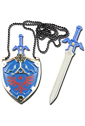 Legend of Zelda Hylian Shield Links Master Sword Necklace