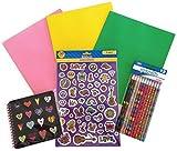 Peace Love Back to School Glitter Binder Sticker Hearts Pencil Supply Bundle - 4 Items: One Heart Sp