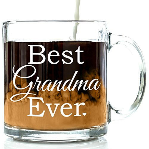 Best Grandma Ever Glass Coffee Mug 13 Oz Great Christmas Gifts For A Grandmother From Grandson Or Granddaughter Unique Birthday Gift Nana Perfect