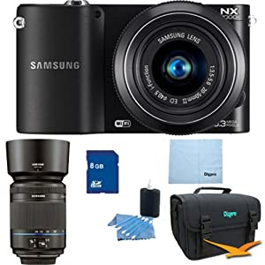 Samsung NX1000 Smart Wi-Fi Digital Camera (Black) Double Lens Bundle With 20-50 mm And 50-200mm Lenses