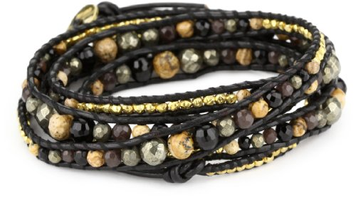 Chan Luu Semi Precious Stones and Plated Beads on Leather Graduated Bracelet