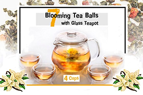 Best Gift for Women Organic Flowering Tea Gift Set: Glass Teapot with Infuser and Cups & 7 Blooming Flower Tea Balls with Natural Flavor