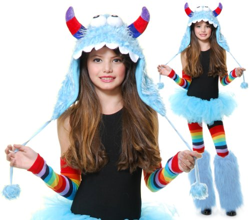 Charades Kids Girls Blue Monster Costume Furry Hood Hat