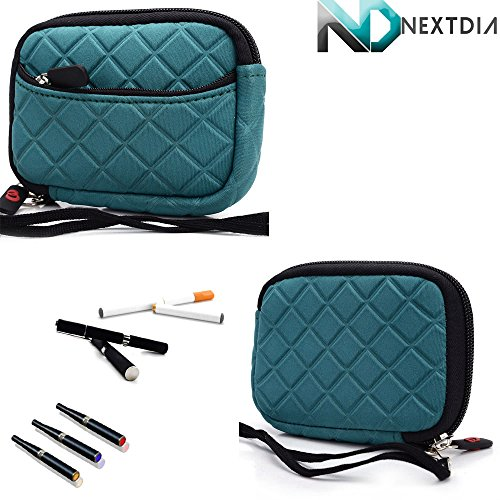 Thin Portable Padded Vape Case Suitable For Provari Variable Voltage V2 Ecig |Mascaw Blue Green| + Removable Hand Strap + Nextdia Cable Organizer