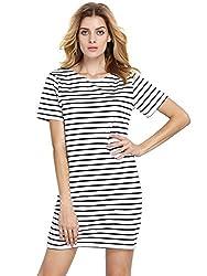 ROMWE Women's Summer Beach Dress Party Short Sleeve Stripe T-shirt Dress