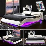 TEXAS-Weiss-Doppelbett-Polsterbett-LED-Unterbodenbeleuchtung-Bett-Lattenrost-Kunstleder-140cm-x-200cm