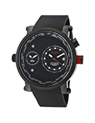 red line Men's 50037-BLK Specialist World Time Black Dial Black Silicone Watch