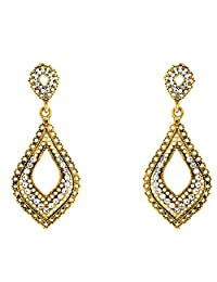 Donna Fashion White Leaf Mesh Gold Plated Dangler Earrings With Crystals For Women ER30082G