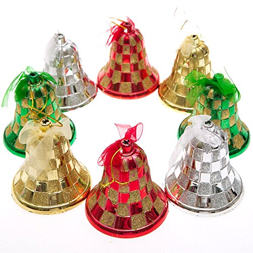 Large Glitter Bell Ornaments Set of 2 (Colors Vary)