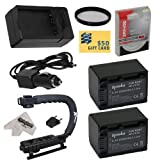 2 Opteka NP-FV70 2500mAh Ultra High Capacity Li-ion Battery Packs 2500mAh Each, 5000mAh in Total + Rapid AC/DC Battery Charger For the Sony HDR-CX900 Video Camera Camcorder Includes Opteka X-GRIP Action Stabilizing Handle + 47stphoto Microfiber Cleaning