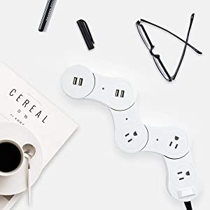 Power Strip with 2 Outlets & 2 USB Charging Ports Surge Protector Rotatable and Deformable Power Strip Desktop Charging Station with 6ft Cord Wire (Tamaño: Common Power Strip)