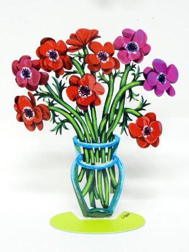 David Gerstein Artist Sculptor Sculpture By David Gerstein Modern Metal Art Sculpture Poppies Flower Vase - Small