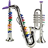 Prextex Set of 3 Musical Instrument Play Set - Saxophone, Clarinet ,Trumpet , Authentic Sound with Nice Detailed Design Plastic Great Christmas Gift Toys for Boys and Girls