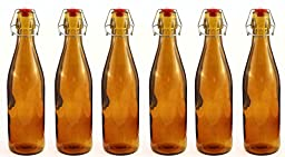 Amber Swing Top Home Brew Glass Bottles, 500ml/16oz+ (Set of 6), great for Beer, Root Beer, Kombucha, DIY Etc.