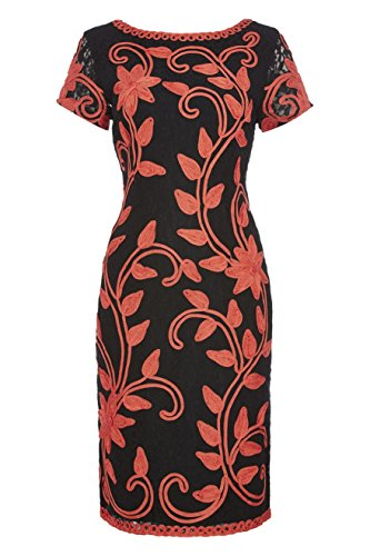 Roman Originals - Women's Tapework Floral Embroidered Lace Shift Dress - Summer Occasion Wedding Guest Smart Party Dresses - Ladies Dresses Coral Sizes 10-20