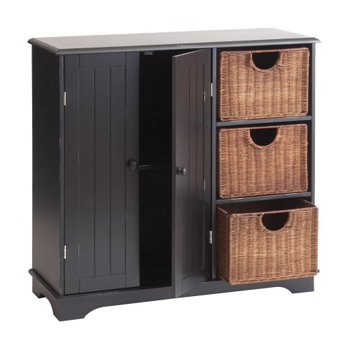 SEI Sideboard with Wicker Drawers, Black