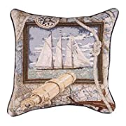 Sailing Nautical Decorative Tapestry Toss Pillow