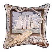 Sailing Nautical Decorative Tapestry Toss Pillow