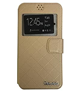 Aryamobi Diary Flip flap case cover for LYF Wind 1 - Gold With Magnetic Flap