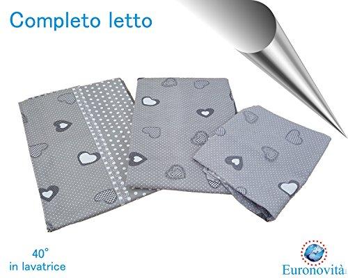 Completo biancheria da letto, Lenzuola in Cotone stampato per Letto matrimoniale, Cuore grigio pois bianco 250x280 cm +2 federa 52x82 +2 federa cuscino
