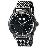 SO&CO New York Men's 5207.4 Madison Quartz Date Black Stainless Steel Mesh Bracelet Watch
