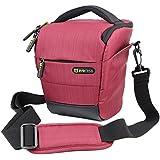 Evecase Étui holster de protection en nylon avec sangle pour appareil photo réflex numérique Nikon D7100, D5200, D600, D3200, D800, Canon EOS 70D, EOS 700D, EOS 100D, EOS 650D, Olympus OM-D, E-M5 et de plus - Rouge et Noir