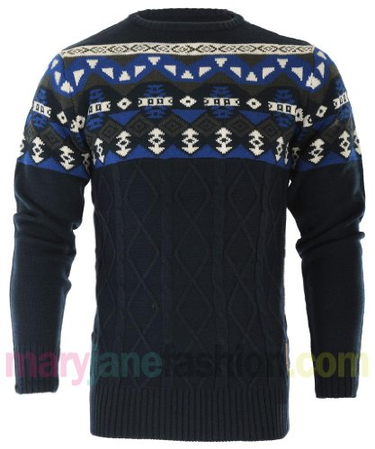Mens Crosshatch Branded Nordic Aztec Chunky Knitted Jumper Top L Navy