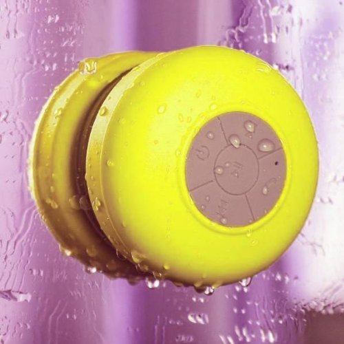 Keeka Mini Portable Waterproof Bluetooth Wireless Stereo Speakers With Built-In Microphone And Suction Cup For Showers Bathroom And Outdoor Environments - Yellow (Sg-04)