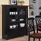 Addison Two-Door Display Curio with Glass & Wood Panel Storage Spaces