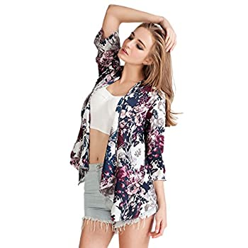 Choies Women's Chiffon Floral Kimono Loose Kimono Cardigan Blouse