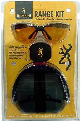 Browning Range Kit Shooting Glasses, Foam Earplugs, and Adjustable-fit Earmuffs Combo Pack