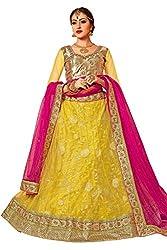 Manvaa Women Net Lehenga Choli(Yellow_ASMMTZ7001D_Free Size)