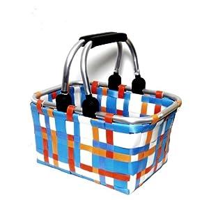 kleiner einkaufskorb kinder korb bunt blau orange wei kariert geflochten handarbeit sehr stabil. Black Bedroom Furniture Sets. Home Design Ideas