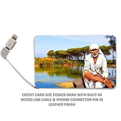 Credit card style leather finish 2500 mAh power bank with Shirdi Sai Baba Picture