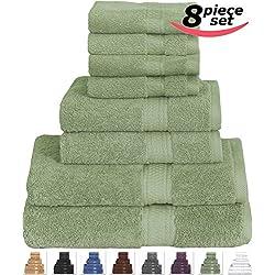 8 Piece Towel Set (Sage Green) 2 Bath Towels, 2 Hand Towels & 4 Washcloths - 100% Cotton By Utopia Towels
