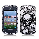 For Samsung Galaxy Centura S738C (Straight Talk) Rubberized Image, White Skulls