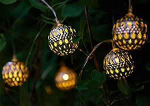 Solalux Set Of 12 Moroccan Solar String Lanterns LED Fairy Lights Garden Hear