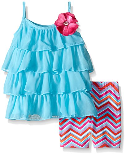 Youngland Baby Girls' Chiffon Top with Chevron Legging Set, Blue/Multi, 12 Months