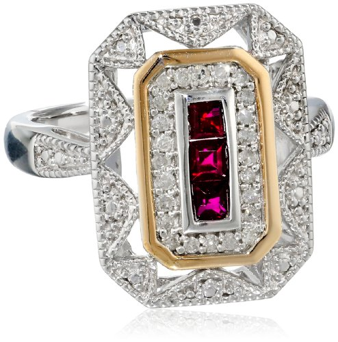 S&G Sterling Silver and 14k Yellow Gold Diamond and  Created Ruby Art Deco Style Ring, Size 5