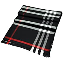 PenSee 100% Viscose Classic Fashion Black & Grey & White Plaids & Checked Scarf