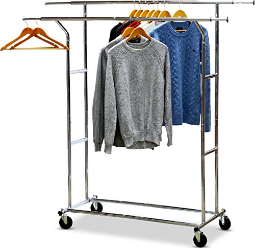 SimpleHouseware Commercial Grade Double Rail Clothing Garment Rack with 4-Inch Casters, Chrome (Heavy Duty Rolling Garment Rack compare prices)
