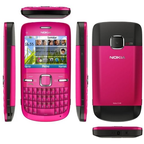Nokia C3-00 Hot Pink schlankes Messaging-Handy mit QWERTY-Tastatur, integr. 2.0-MP-Digitalkamera, Email-Client & Internet-Browser, FM Stereo-Radio, Music- & Video-Player, Bluetooth®, WLAN, und microSDTM Speichererweiterung bis 8 GB